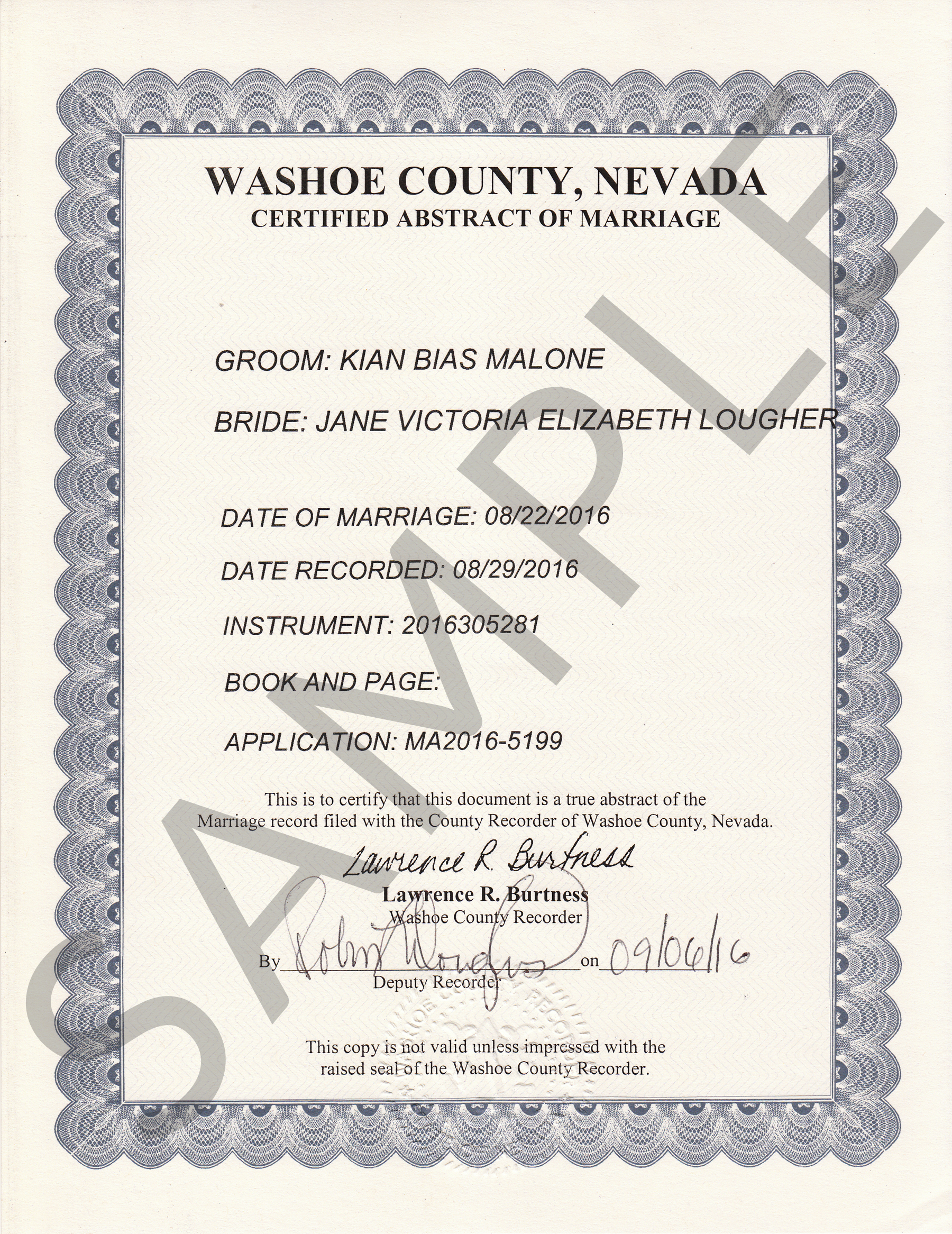Sample certificates nevada document retrieval service certified abstract of marriage certificate yadclub Choice Image