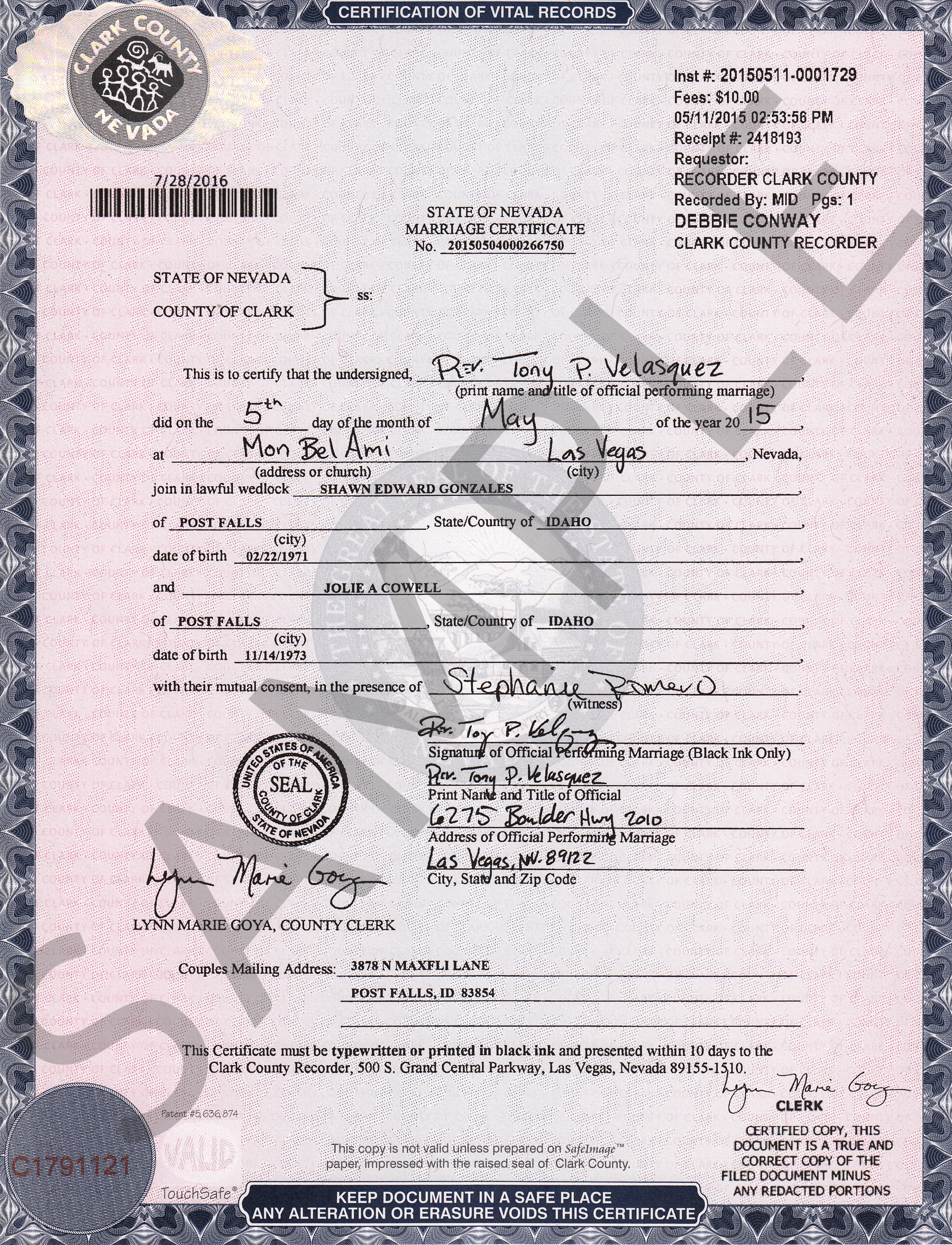 Certified Copy Of Marriage Certificate