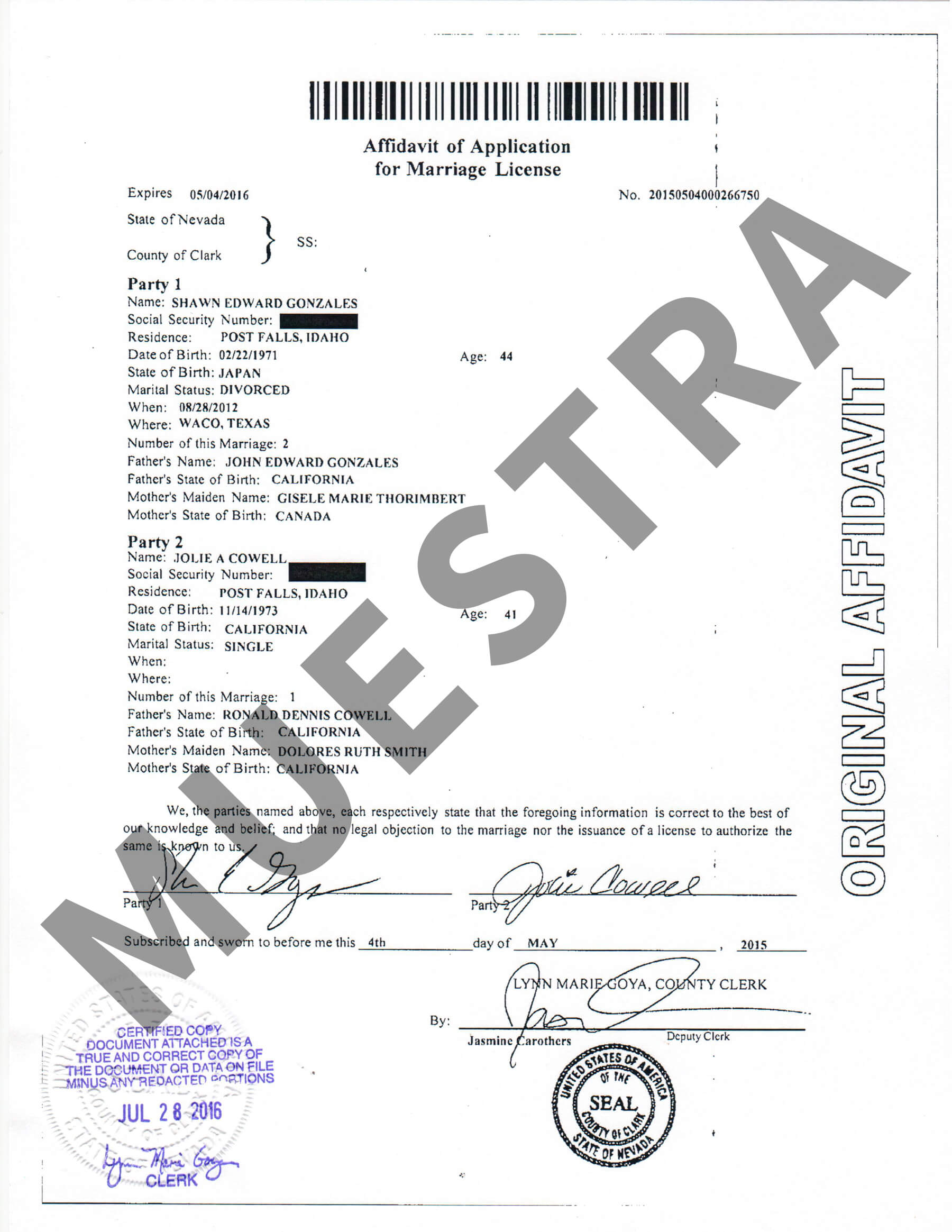 Muestras de Certificados | Nevada Document Retrieval Service